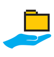 Hand and folder icon vector image vector image