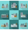 Industrial Buildings Long Shadow Flat Icons vector image vector image