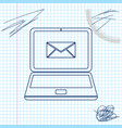laptop with envelope and open email on screen line vector image