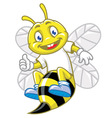 little bee pose with thumb up vector image vector image