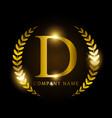 luxury golden letter d for premium brand identity vector image vector image