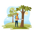 male character in workwear cutting tree vector image