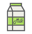 milk filled outline icon food and drink dairy vector image vector image