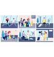 people airport tourists with suitcases vector image