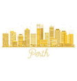 perth city skyline golden silhouette vector image vector image