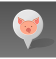 Pig pin map icon Animal head vector image