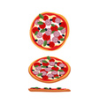Pizza with tomatoes and sausage Food top view side vector image vector image