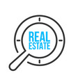 real estate word magnifying glass vector image vector image