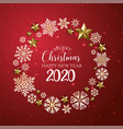 red and golden merry christmas banner background vector image vector image