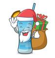 santa with gift blue hawaii mascot cartoon vector image vector image