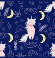 seamless pattern with unicorn at night vector image vector image