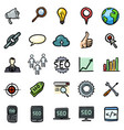 set doodle seo icons vector image vector image