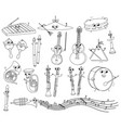set of funny coloring musical instruments for kids vector image