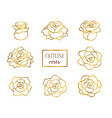 set of outline golden roses vector image