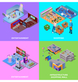 Shopping Mall 2x2 Icons Set vector image vector image