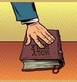 swearing on bible court and religion vector image vector image