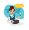 travel agency bannertravel agent works for laptop vector image vector image