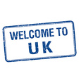 welcome to uk blue grunge square stamp vector image vector image