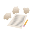 White sheet of paper and crumpled paper icon vector image vector image