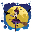 Witch and Full Moon11 vector image vector image