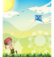 A boy playing with his kite vector image vector image