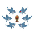 Angry sharks surrounded man in old diving suit vector image vector image