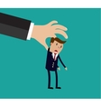 Big hand holding businessman vector image