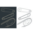 bike sprocket with chain drawings vector image