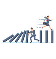 businessman stopping domino effect vector image