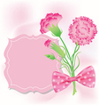 Carnation with pink card for Mothers Day vector image vector image