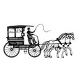 carriage with horses engraving style vector image vector image