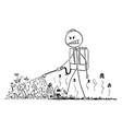 cartoon man spraying herbicide or vector image vector image