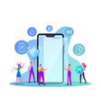 characters put on smartphone screen protector film vector image