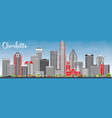 charlotte skyline with gray buildings and blue sky vector image vector image