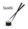 chopsticks and sushi roll vector image vector image