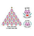 christmas card with cute cat tree vector image vector image