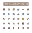 Colored Building Material Line Icons vector image vector image