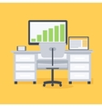 Computer desk workplace vector image
