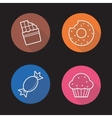 Confectionery flat linear icons set vector image
