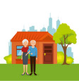 couple of grandparents away from home vector image