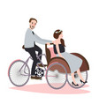 couple ride tricycle rickshaw together have fun vector image vector image