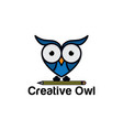 cute owl standing on a pencil vector image vector image