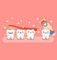 cute tooth hygiene smiling happy teeth mascots vector image vector image