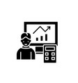 data analysis system black icon sign on vector image