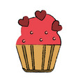 drawing cup cake love hearts vector image vector image