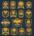 eagle bird heraldic icons hawk heraldry symbols vector image vector image