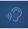 Ear and sound waves line icon vector image vector image