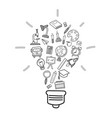 education icons in light bulb shape doodle style vector image vector image