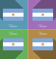 Flags Argentina Set of colors flat design and long vector image