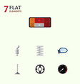 flat icon component set of auto component belt vector image vector image